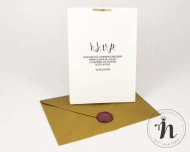 Invitatii nunta - Invitatii nunta cu sigiliu bordeaux si plic auriu - verso
