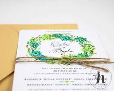 invitatii nunta florale Lavinia - detaliu
