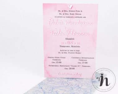 invitatii nunta moderne cu flori si acuarela roz - alexia - detaliu