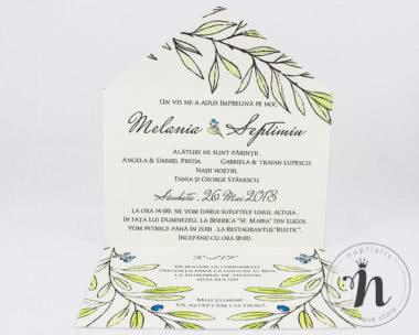 invitatii nunta vintage cu frunze de maslin Eva - interior