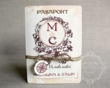 invitatii nunta tip pasaport fata