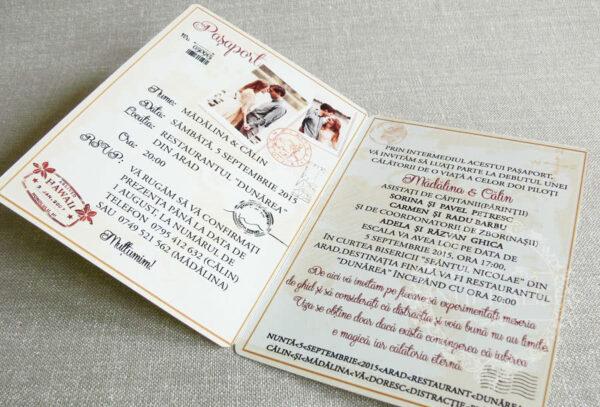 invitatii nunta tip pasaport interior