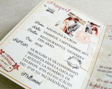 invitatii nunta tip pasaport detaliu poze