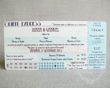 Invitatii nunta vintage tip bilet de tren Helena - fata