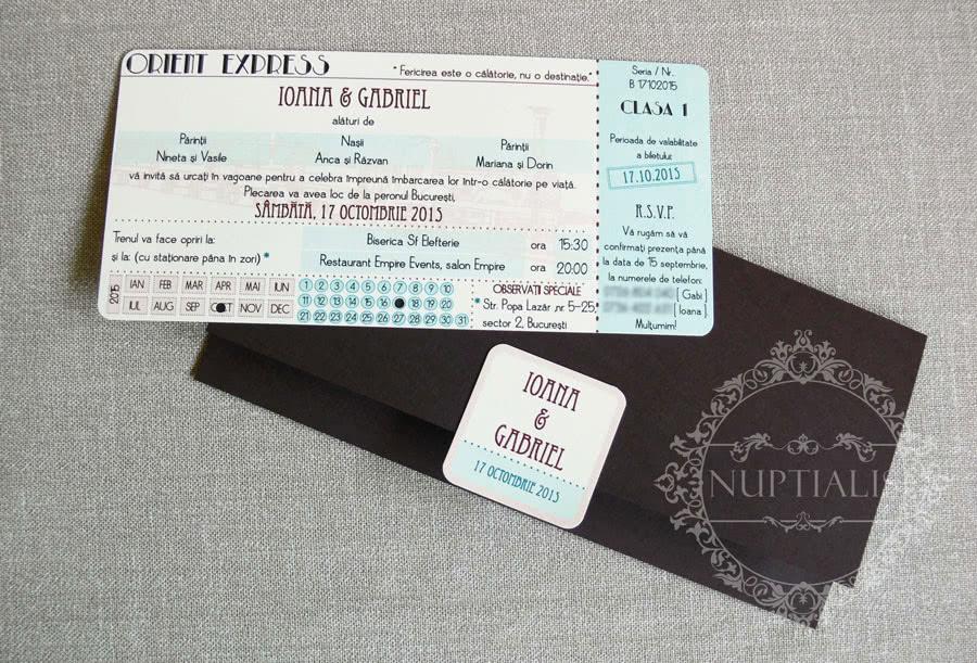 Invitatii Nunta Vintage Tip Bilet De Tren Helena Nuptialis