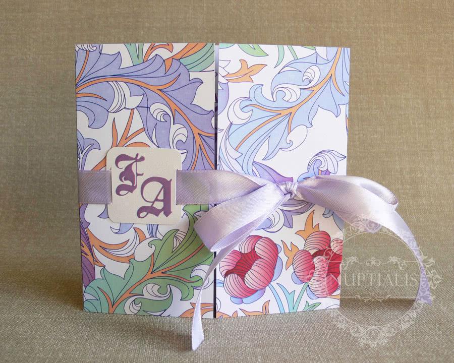 Invitatie de nunta eleganta cu fundita si flori CASSIA - fata