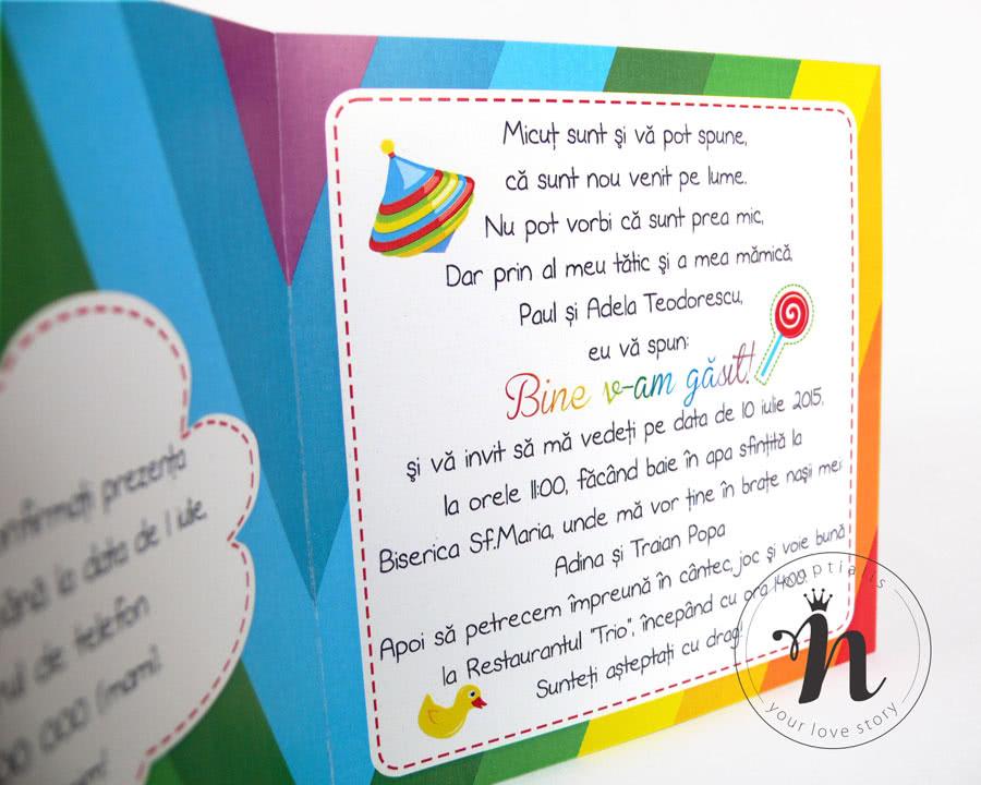 Invitatii Botez Haioase Colorate Rainbow Nuptialis