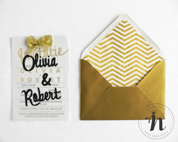 invitatii nunta cu plicuri personalizate cu pattern liniar