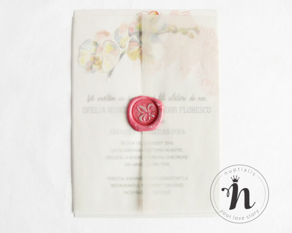 Invitatii de nunta cu sigiliu si flori