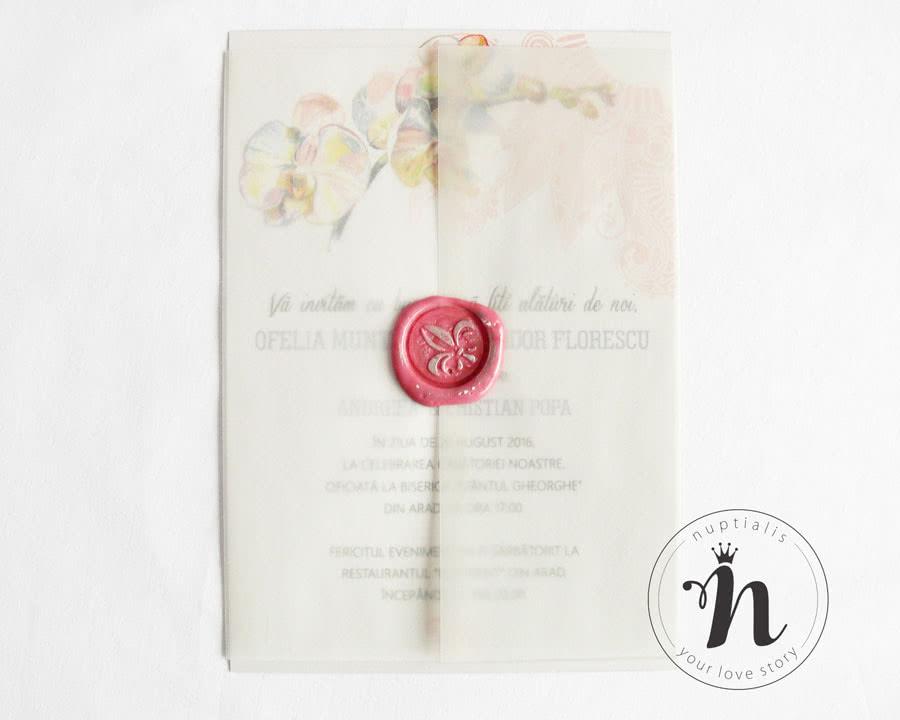 Invitatie nunta cu sigiliu si flori