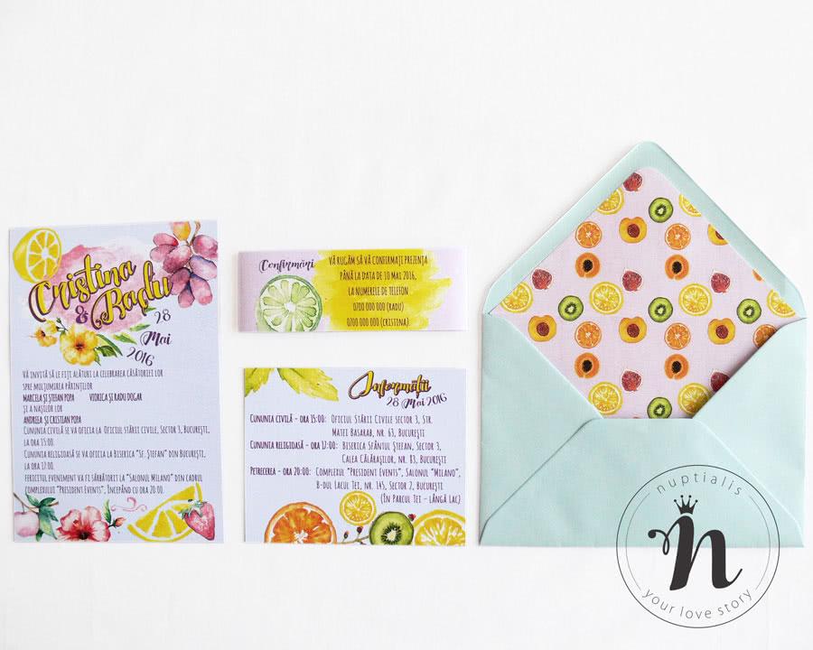 Invitatii Nunta Moderne Jucause Cu Fructe Flori Si Plic Cu