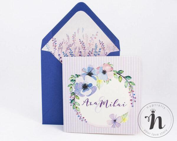 Invitatii Nunta - invitatii nunta cu lavanda si plic cu liner - susanna - vedere din fata
