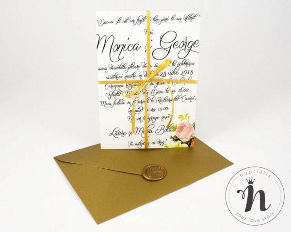 Invitatii nunta - Invitatii nunta cu sigiliu auriu si plic auriu - vedere din fata