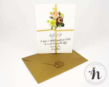 Invitatii nunta - Invitatii nunta cu sigiliu auriu si plic auriu - verso