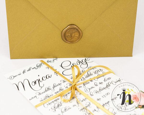 Invitatii nunta - Invitatii nunta cu sigiliu auriu - detaliu