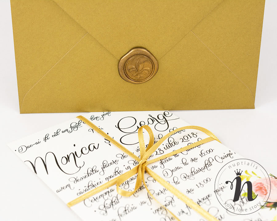 Invitatie de nunta cu sigiliu auriu - detaliu