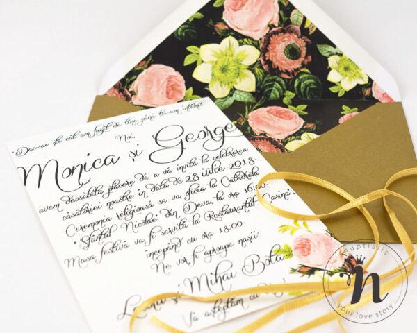 Invitatii nunta - Invitatii nunta cu sigiliu auriu si plic personalizat - detaliu