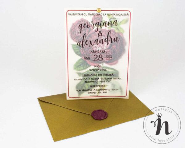 Invitatii nunta - Invitatii nunta cu sigiliu bordeaux si plic auriu - vedere din fata