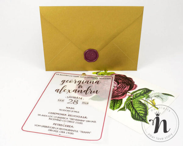 Invitatii nunta - Invitatii nunta cu sigiliu bordeaux si bujori