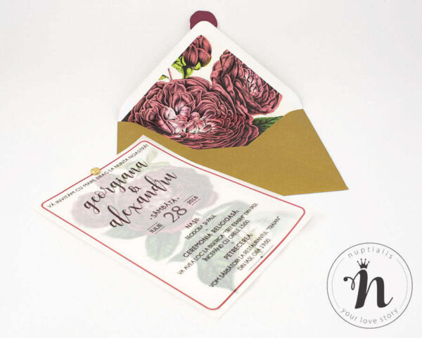 Invitatii nunta botanical - Invitatii nunta cu sigiliu bordeaux si plic cu liner personalizat