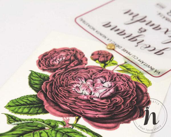 Invitatii nunta cu bujori - Invitatii nunta cu sigiliu bordeaux - detaliu