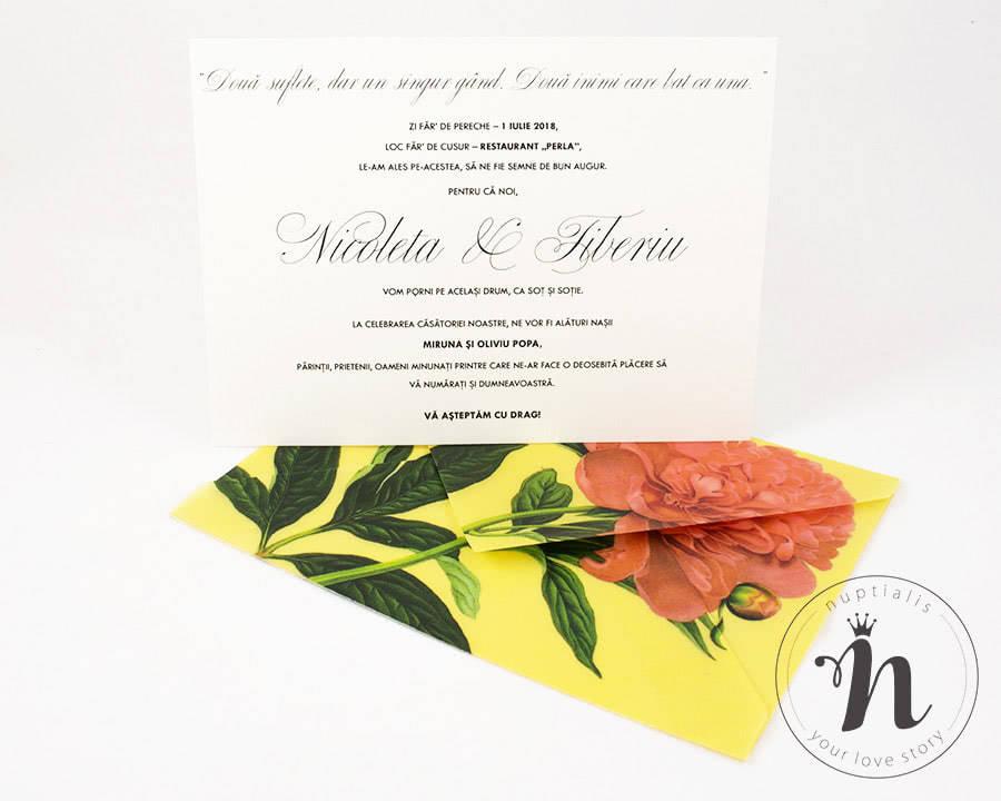 Invitatii nunta handmade cu bujori corai - vedere din fata