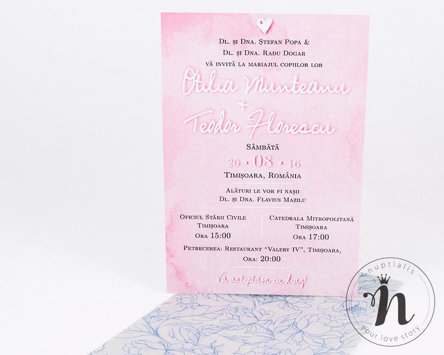 invitatii nunta simple cu flori si acuarela roz - alexia - detaliu