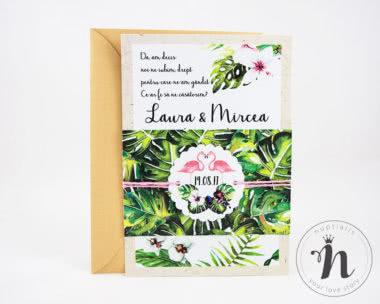 Invitatii Nunta - invitatii nunta moderne, tropicale cu plic kraft - penelope - vedere din fata