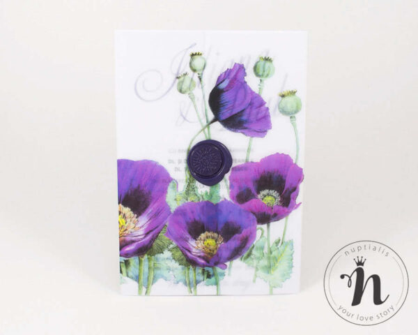 Invitatii nunta - Invitatii nunta mov, cu maci si sigiliu violet - vedere din fata