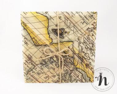 Invitatii Nunta - Invitatii nunta travel cu plic din calc imprimat cu harta lumii si legate cu sfoara