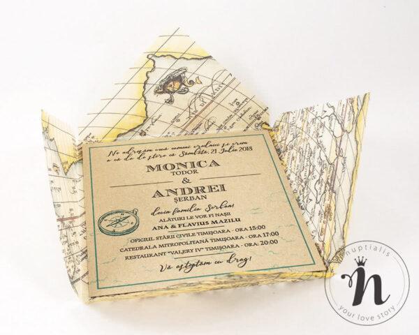 Invitatii Nunta - Invitatii nunta travel cu plic din calc imprimat cu harta vintage - detaliu
