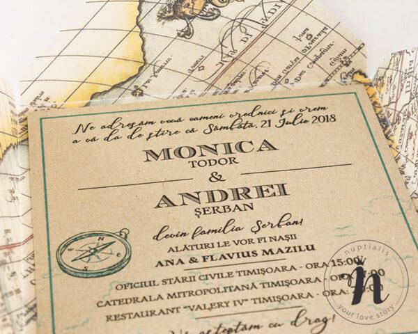 Invitatii Nunta - Invitatii nunta travel invelita in calc - detaliu text