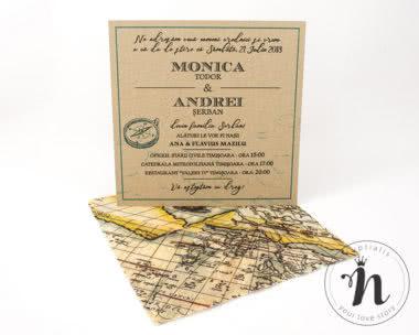Invitatii Nunta - Invitatii nunta travel cu plic din calc imprimat cu harta vintage - vedere din fata
