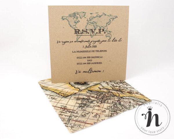 Invitatii Nunta - Invitatii nunta travel cu plic din calc imprimat cu harta vintage - verso