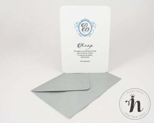Invitatii nunta - Invitatii nunta vintage cu flori albastre si plic argintiu - verso
