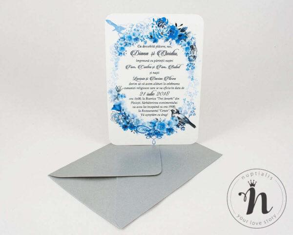 Invitatii nunta - Invitatii nunta vintage cu flori albastre si plic argintiu - vedere din fata