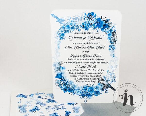 Invitatii nunta - Invitatii nunta vintage cu flori albastre - detaliu cu plic