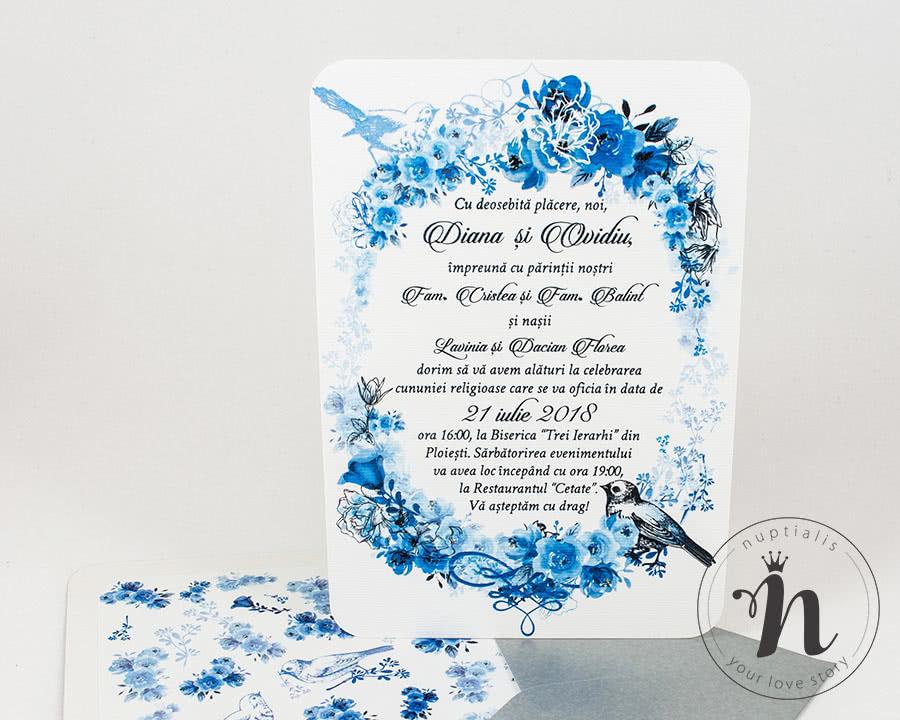 Invitatii nunta vintage cu flori albastre - detaliu cu plic