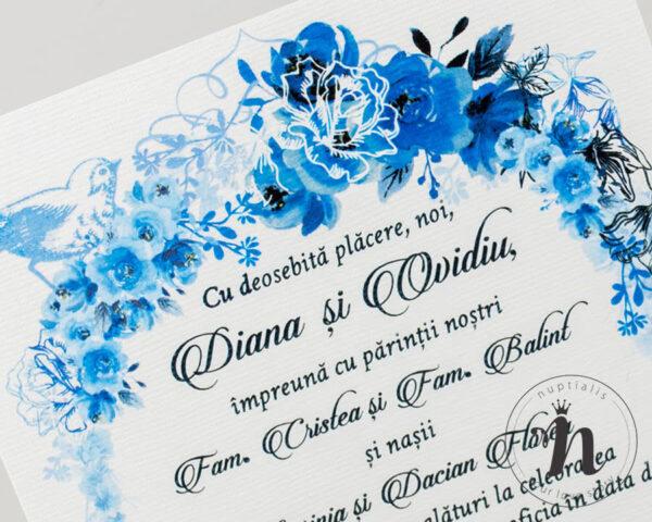 Invitatii nunta - Invitatii nunta vintage cu flori albastre - detaliu
