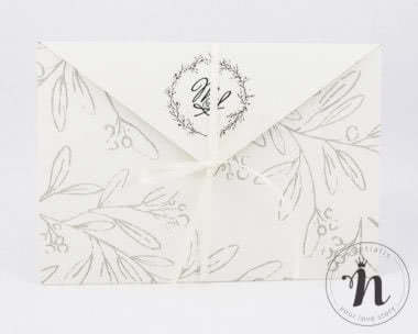 Invitatii Nunta - invitatii nunta vintage legate cu panglica ivoire - eva - vedere din fata