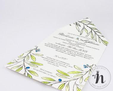invitatii nunta vintage cu frunze de maslin - eva - detaliu 1