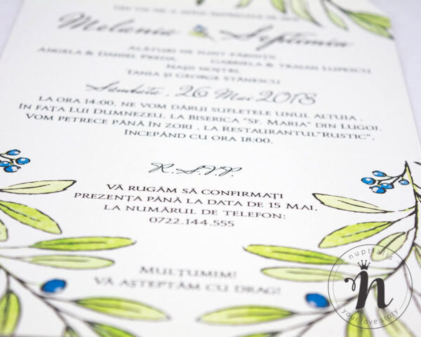 invitatii nunta vintage cu frunze de maslin - eva - detaliu text
