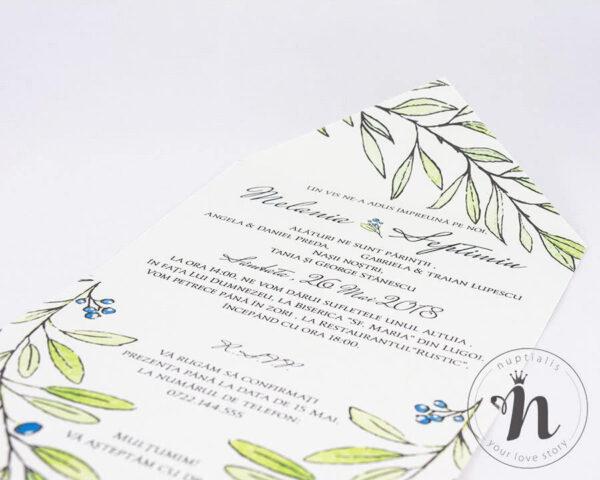 invitatii nunta vintage cu motive botanice - eva - detaliu 2