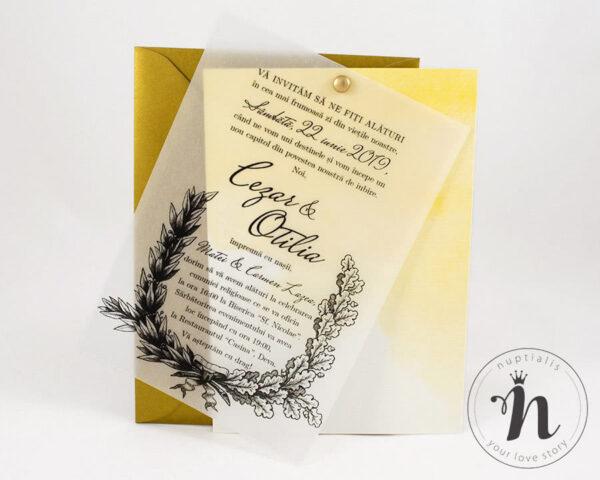 invitatii nunta vintage cu plic auriu - petra - vedere din fata