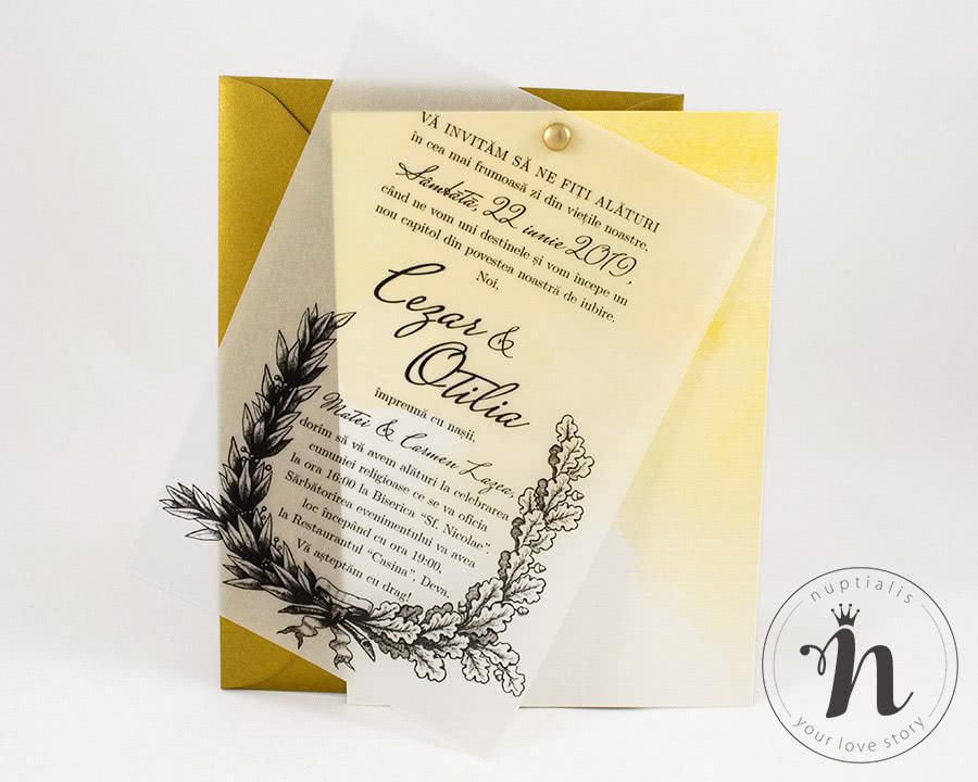 invitatie nunta vintage petra - cu plic auriu - vedere din fata