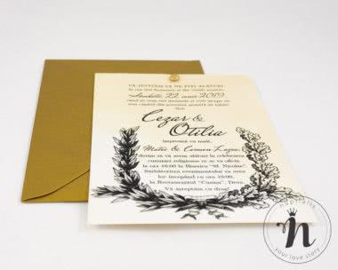 invitatii nunta vintage cu plic auriu - petra - detaliu