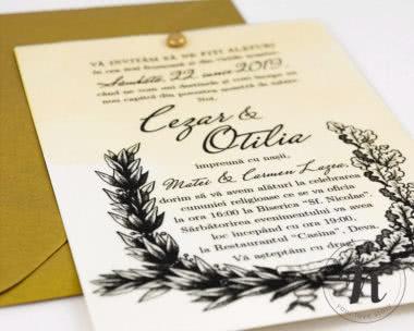 invitatii nunta vintage petra - detaliu