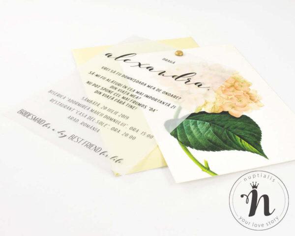 invitatii domnisoare de onoare cu flori blooming - detaliu cu plic