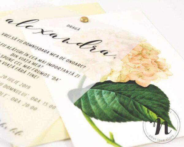 invitatii domnisoare de onoare cu flori blooming - detaliu cu hortensie si calc