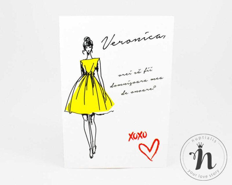 invitatii domnisoare de onoare cu plic galben fashionista - vedere din fata